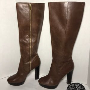 MICHAEL KORS Brown Leather Knee High Heel Boots